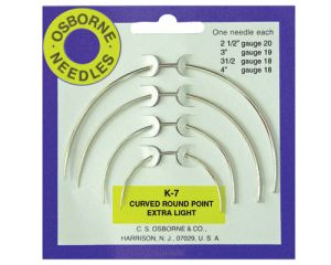 OSBORNE K-7 Curved EXTRA LIGHT Round Point Needle Card